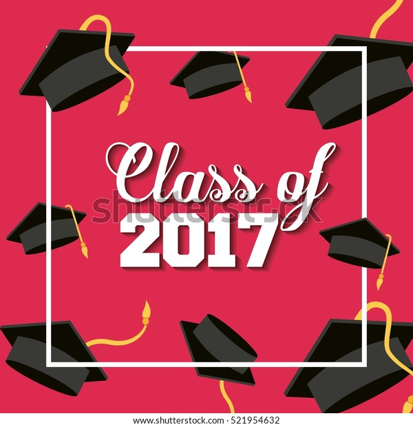 card of class 2017 with graduation hats over red background. colorful design. vector illustration