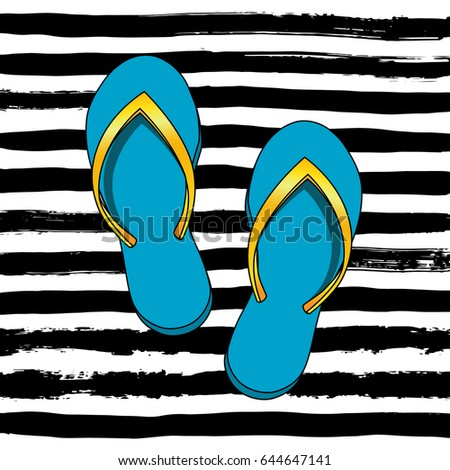 0cef0e590 Card with Colorful Flip Flops on Stripes Dirty Design Background. Vector  Illustration. Summer Collection, Beach Party, Swim Wear, Card, Banner. -  Vector