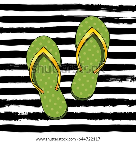 0b74aa134 Card with Colorful Flip Flops on Stripes Dirty Design Background. Vector  Illustration. Summer Collection