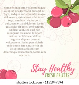 Card of cranberry on light background. Berry elements for invitations, menu, advertising, juice, food, cosmetics or health products. Perfect for cards, invitation, banner or website