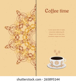 Card with cup of coffee,  ornate eastern round elements.