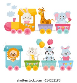Card with cute animals on train. Little rabbit, giraffe, elephant, zebra, lion, mouse and cat ride on a toy locomotive.