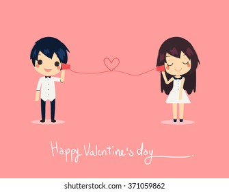 card of cute couple call on paper phone. they wear couple's dress and shirt with tex Happy valentine's day.