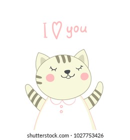 Card with cute kitten girl and handwritten inscription. Vector illustration.