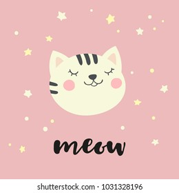 Card with cute kitty and hadwritten inscriptin Meow.