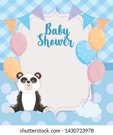 card of cute panda animal with balloons