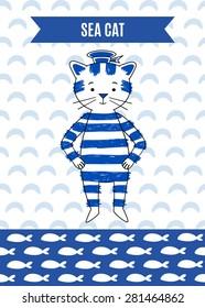 Card cute retro cat sailor. Marine vector illustration