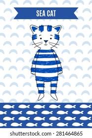 Card cute retro sea cat. Marine vector illustration