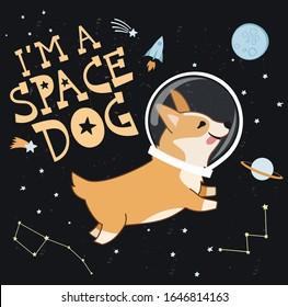 Card with cute Welsh Corgi dog in space