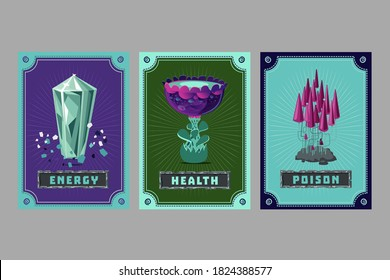 Card deck. Collection game art. Fantasy ui kit with magic items. User interface design elements with decorative frame. Equipment assets. Cartoon vector illustration. Crystal, plant and mushroom.