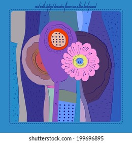 Card with decorative stylized flowers in blue colors and text.