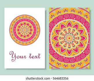 Card design. Beautiful backgrounds with colorful round ornaments. Vector art