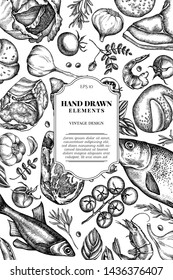 Card design with black and white garlic, cherry tomatoes, peas, fish, shrimp, cabbage, beef, buns and bread, croissants and bread, basil, rosemary