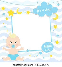 Card design with boy, baby shower card