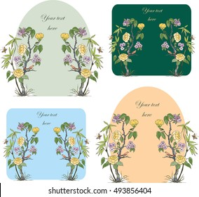 Card design in chinoiserie style with peonies, butterfly and bird  for wedding, scrapbooking, wallpaper and other design.