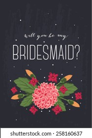 """Card design featuring the words """"Will you be my bridesmaid?"""""""