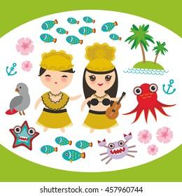 Card design Hawaiian Hula Dancer Kawaii boy girl set Hawaii icons symbols guitar ukulele flowers parrot fish crab octopus anchor flower sea ocean palm trees isolated on white green background. Vector