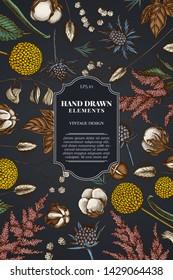 Card design on dark background with astilbe, craspedia, blue eryngo, lagurus, cotton, gypsophila