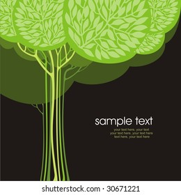 card design with stylized trees and text
