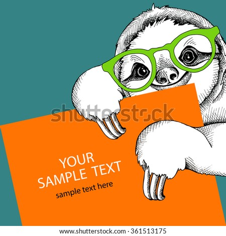 card design template image sloth glasses stock vector royalty free