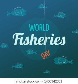 "Card design for World Fisheries Day with fish and the word ""day"" on the hook.  Vector illustration for poster, banner, postcard, t-shirt."