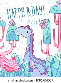 Card with dinosaur Brachiosaurus and cartoon background. Fantasy trees and plants. Template greeting card