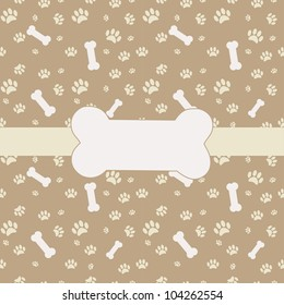 Card  with dog paw print and bones