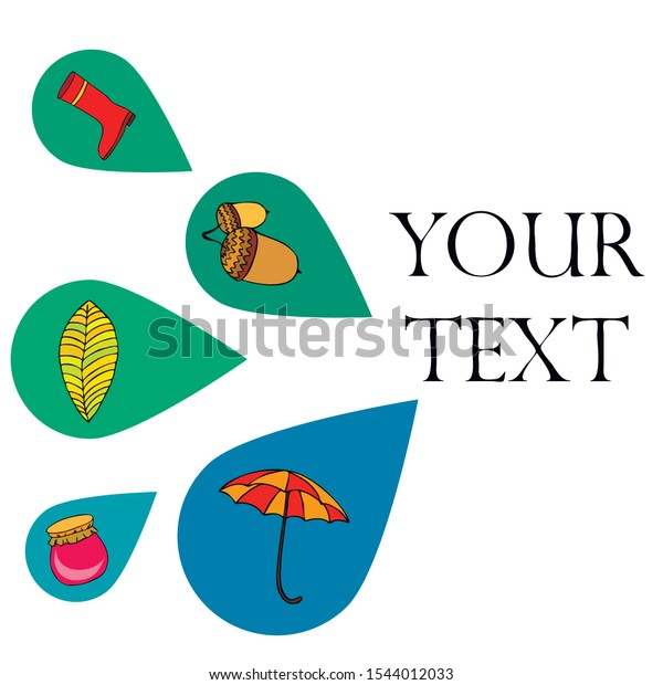 Card doodle style autumn, jam autumn leaves umbrella acorns, elements and symbols in color