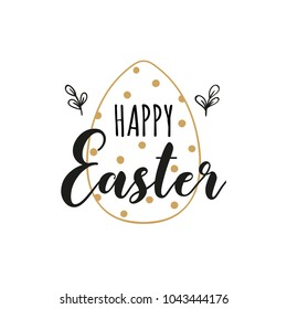 Card with dotted Easter egg and handwritten inscription Happy Easter. Vector illustration. EPS 10.