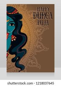 Card for Durga Puja, poster with portrait of  indian goddess Kali, vector illustration