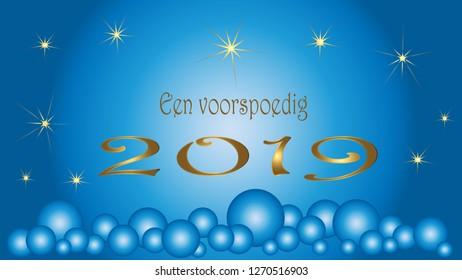 Card Dutch text happy new year. Blue Christmas balls golden stars.