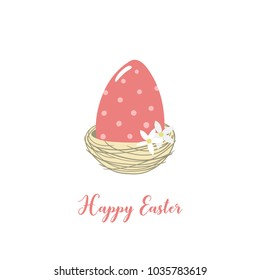 Card with Easter egg in the nest and inscription Happy Easter. Vector template suitable for greeting cards, posters, holiday invitations.