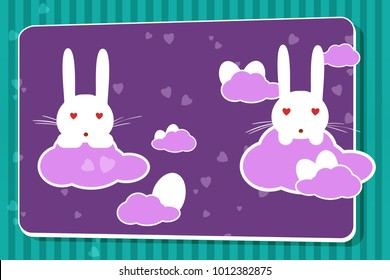 card Easter white rabbit with eggs. Colorful card with white rabbit vector.