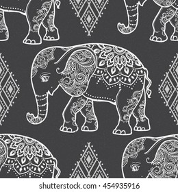Card with Elephant. Frame of animal made in vector. Pattern Illustration for design, pattern, textiles. Use for children clothes, pajamas