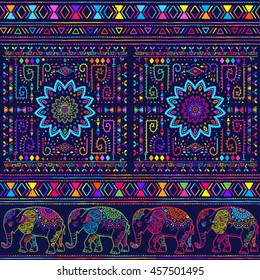 Card With Elephant Frame Of Animal Made In Vector Pattern Illustration For Design