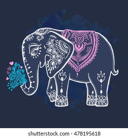 Card with Elephant. Frame of animal made in vector ornamental. Illustration for design, pattern, textiles. Use for children's clothes, pajamas