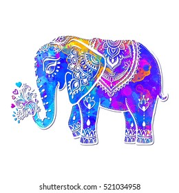 Card with Elephant. Frame of animal made in vector ornamental. Illustration for design, pattern, textiles. Use for children's clothes, pajamas and adult coloring book