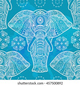 Card with Elephant.  Pattern of animal made in vector