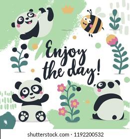 Card enjoy the day panda cute plant
