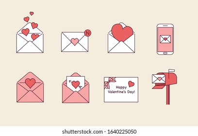 The card envelope contains the heart. Love letters in various media. hand drawn style vector design illustrations.