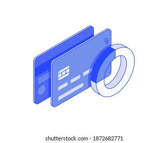 Сredit card expense chart, statistic. Debit or credit banking Card electronic money isometric illustrate 3d vector icon. Modern creative design illustration in flat line style.