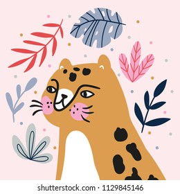 Card with face of the cute leopard. Funny cat portrait in the tropical leaves. Vector illustration for nursery poster design, kids print, avatar or greeting card.