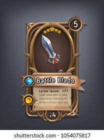 Card of fantasy battle blade weapon for game with interface elements. Vector illustration.