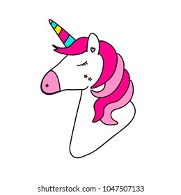 Card with fantasy doddled unicorn in punchy pastels isolated on white, card with sticker of magic cartoon bright rainbow horse with horn