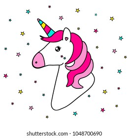 Card with fantasy doddled unicorn in punchy pastels with star background, card with sticker of magic cartoon bright rainbow horse with horn