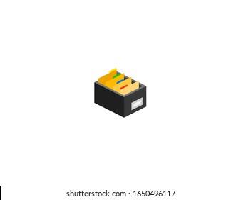 Card file box vector flat icon. Isolated documents, files box, folder emoji illustration