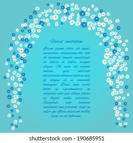 Card with a floral arch made of little daisies and chamomiles designed for holiday greeting or invitation.