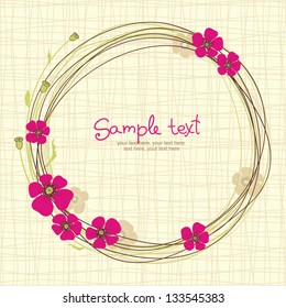 card with floral pattern and text. wreath of poppy flowers
