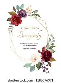 card with flower rose, leaves. Wedding ornament concept. Floral poster, invite. Vector decorative greeting card or invitation design background