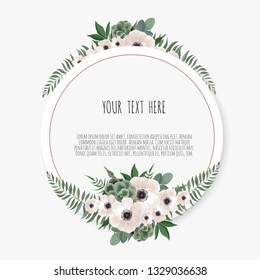 Card with flower rose, leaves. Wedding ornament concept. Floral poster, invite.